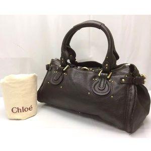 Auth CHLOE Paddington Dark Brown Shoulder Bag
